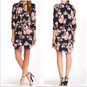 ANTHRO Daniel rainn floral dress navy blue pink